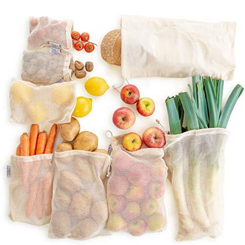 Obst- & Gemüsebeutel - [8er Set] Nachhaltige Einkaufsnetze aus hochwertiger Bio Baumwolle - Wiederverwendbare Baumwollbeutel als Alternative für EIN plastikfreies Leben - Gemüsenetz | Obstnetz -