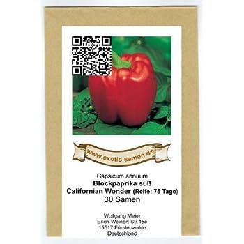 300 Samen Gemüse Süßer Paprika Californian Wonder