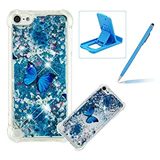 Liquid TPU Case for iPod Touch 5,Shock-Absorbing Glitter Rubber Case for iPod Touch 6,Herzzer Stylish Ultra Slim Blue Butterfly Pattern Sparkly Quicksand Sequins Soft Flexible Shockproof Scratch Resist Silicone Cover