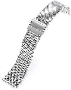 Cinturino a maglie milanesi con bande di 20mm, 22mm, lucido