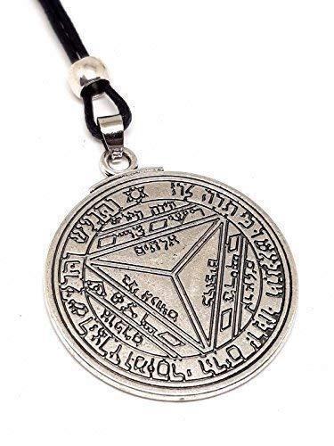 Eclectic Shop UK Septimo Pentaculo de Saturno Clave de Salomon Talisman Sello Kabbalah Hermetica Colgante con Cuentas Cuerda Necjklace