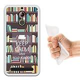 WoowCase ZTE Nubia N1 Lite Hülle, Handyhülle Silikon für [ ZTE Nubia N1 Lite ] Keep Calm and Read a Book Handytasche Handy Cover Case Schutzhülle Flexible TPU - Transparent