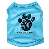 Hawkimin Haustierweste Mark Your Mark Schwarz Fußabdruck Ärmelloses Hunde T-Shirt Beiläufig Erfrischend Sportswear Sweatshirt Welpe Bekleidung
