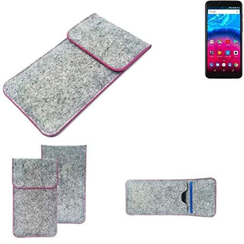 K-S-Trade® Filz Schutz Hülle Für Archos Core 57S Schutzhülle Filztasche Pouch Tasche Case Sleeve Handyhülle Filzhülle Hellgrau Pinker Rand