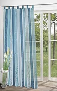 Kamaca Rideau semi-transparent à passants Tissu léger Rayures Bleu 245 x 140 cm