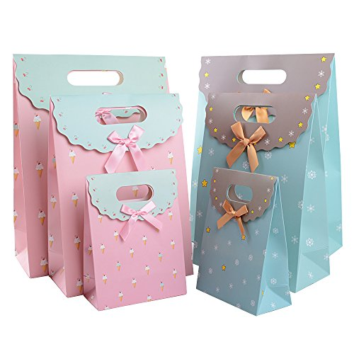 6 Stücke (3 Größe * 2 Farben) Geschenktasche mit Klettverschluss Geschenktüte für Geburtstag Hochzeit Weihnachten Taufe Ostern Geschenkbeutel Tüten Weihnachtstüte Weihnachtstasche Weihnachtsbeutel
