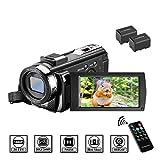 Videocámara MELCAM Cámara de Video HD 1080P 24.0MP Pantalla LCD de 3 Pulgadas Giratoria 270° Zoom 16X Vlogging Cámara Digital con Control Remoto