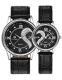 OOFIT Armbanduhr 1 Paar / 2PC Tiannbu Ultradünnes Leder Romantic Mode Paar Armbanduhren Schwarz