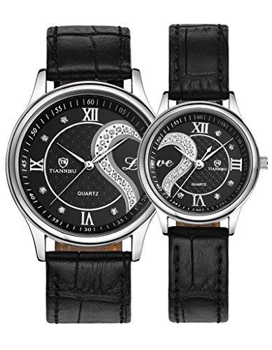 OOFIT Paaruhren Analog mit Leder Armband OOFIT-BLACK-SILVER-LOVE-FBA-DE