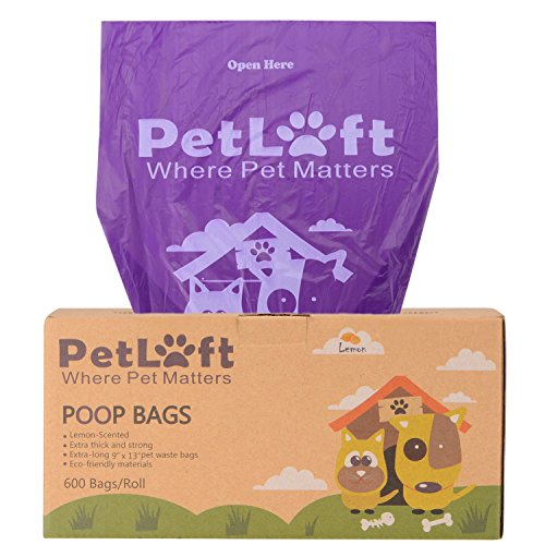 PetLoft Poop Tasche, 300-count Lemon-Scented Langlebig biologisch abbaubar Hund Abfall Poop Bag in Seidenpapier kleckereien Format–Violett, 600 Counts (Lemon-Scented) (300 Count Tasche)