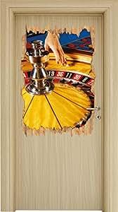 Roulette Tisch in Las Vegas Holzdurchbruch im 3D-Look , Wand- oder Türaufkleber Format: 92x62cm, Wandsticker, Wandtattoo, Wanddekoration
