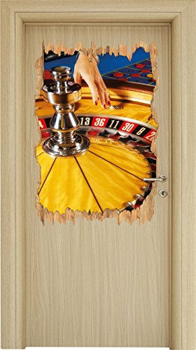 s Vegas Holzdurchbruch im 3D-Look , Wand- oder Türaufkleber Format: 92x62cm, Wandsticker, Wandtattoo, Wanddekoration (Casino-tisch Dekorationen)