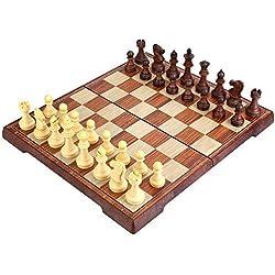 Peradix Schachspiel mit Aufbewahrungsbeutel Magnetischem Einklappbar Deluxe Schachbrett Schach für Kinder ab 6 Jahre und Erwachsene, aus WPC (35*30cm Braun) Schach
