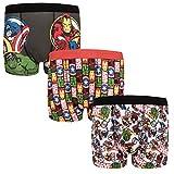 Marvel Avengers Assemble - Jungen Boxershorts mit Hulk- & Iron Man-Motiv - Offizielles Merchandise - Geschenk - 3 Paar - Rot - 9-10Jahre