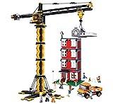 Funstones - Bausteine Bau Steine Stein Baustelle Set : Bau Kran + LKW + Mänchen Figuren Arbeiter + Haus Baustelle Hochhaus + Besitzer + Zubehör
