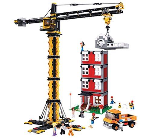 (Funstones - Bausteine Bau Steine Stein Baustelle Set : Bau Kran + LKW + Mänchen Figuren Arbeiter + Haus Baustelle Hochhaus + Besitzer + Zubehör)