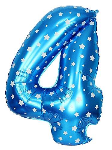 Inception Pro Infinite Globos de Fiesta - Número 4 - Altura 100 centímetros - Color Azul - Estrellas - Cumpleaños - Año Fiesta - Decoraciones