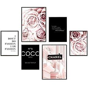 Heimlich® Premium Poster Set   Stilvolles Set mit passenden Bilder als Wohnzimmer Deko   2 x DIN A3 & 4 x DIN A4 - ca. 30x40 & 20x30   Auch mit Bilderrahmen » Coco Schwarz «