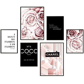 Heimlich® Premium Poster Set | Stilvolles Set mit passenden Bilder als Wohnzimmer Deko | 2 x DIN A3 & 4 x DIN A4 - ca. 30x40 & 20x30 | Auch mit Bilderrahmen » Coco Schwarz «