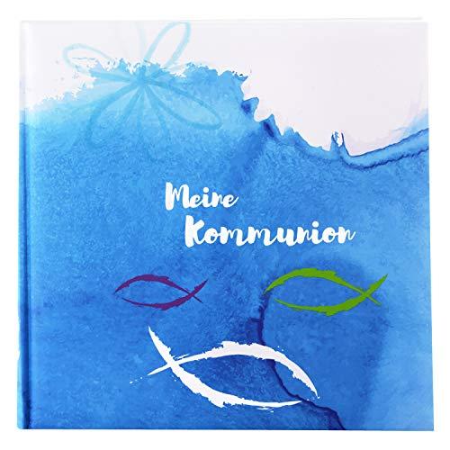 Goldbuch Fotoalbum für die Kommunion, Mare, 25x25 cm, 60 weiße Seiten, 4 Seiten Textvorspann, Kunstdruck, Weiß/Blau, 03 108
