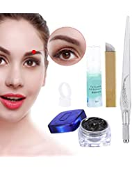 Permanent 3D Make-up Augenbraue Tattoo Nadeln Stifte Pigment Set, Augenbrauen Microblading Pen +Tattoo Pigment+ Pigmentringe+ Manuelle Stifte+ Augenbrauen und Eyeliner Reparatur Gel (Style A)