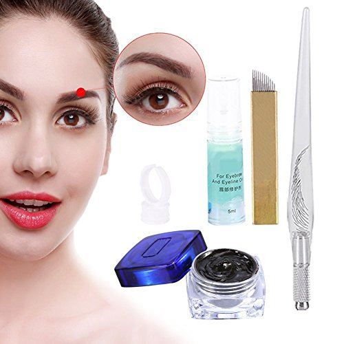 Permanent 3D Make up Augenbraue Tattoo Nadeln Stifte Pigment Set, Augenbrauen Microblading Pen Tattoo Pigment Pigmentringe Manuelle Stifte Augenbrauen Eyeliner Reparatur Gel (Style A)