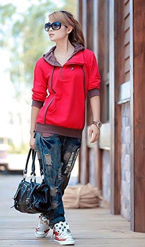 Automne Hiver Femme Décontractée Hooded Pullover Tops Mode Lmprimé Sweats à Capuche à Manches Longues Chemisiers Encapuchonné Sweatshirt Rouge