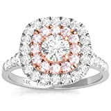 Diamond Studs Forever 14ct White & Rose Gold 1ct Total Weight Diamond Double Halo Engagement Ring GH/I1