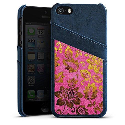 Apple iPhone 6 Plus Housse étui coque protection Rétro couleurs Fleurs Étui en cuir bleu marine