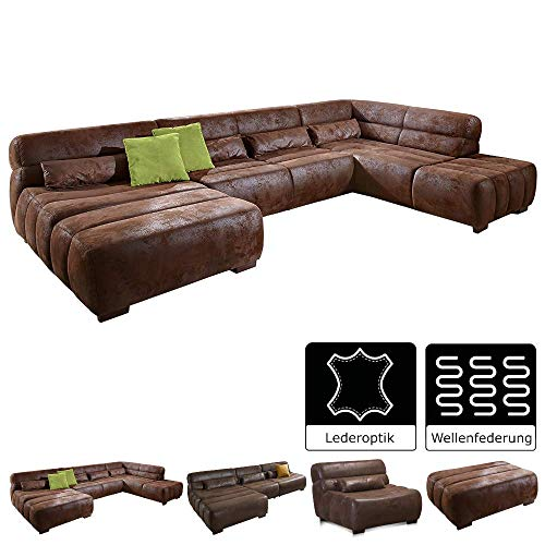 Cavadore Wohnlandschaft Scoutano in Antiklederoptik / XXL-Couch in U-Form im Industrial Design /  Longchair links und Ottomane rechts / 363 x 76 x 227 cm / Lederoptik braun / Holzfüße
