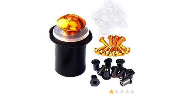 set di viti universali per carenatura con dadi in gomma neoprene M5 arancione viti argento Set di 10 dadi in gomma M5 per moto per cupolino