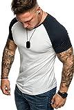 Amaci&Sons Oversize Doppel Farbig Herren Slim-Fit Crew Neck Basic T-Shirt Rundhals 1-0015 Weiß/Navyblau S