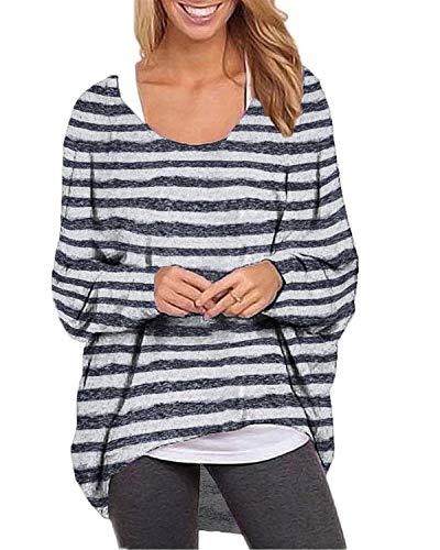 ZANZEA Damen Rundhals Langarmshirt Streifen Asymmetrisch Pullover Oversize Oberteil Tops 03-grau Small -