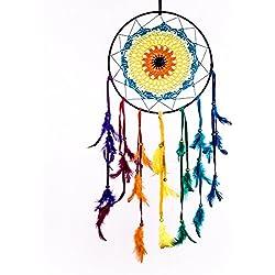 Atrapasueños ~ Rainbow ganchillo de Boho, Hippy, Gypsy Estilo 26cm x 26cm x 60cm de largo.