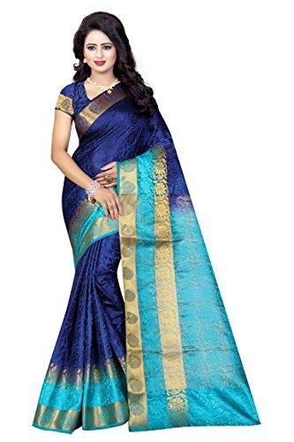 Wedding Villa Women's Banarasi Silk Jacquard Woven Saree with Blouse Piece -...