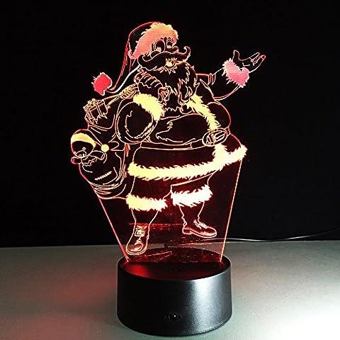 YRZT Artigianato creativo Natale regali variopinti 3D Babbo Natale tocco notte luce LED lampada