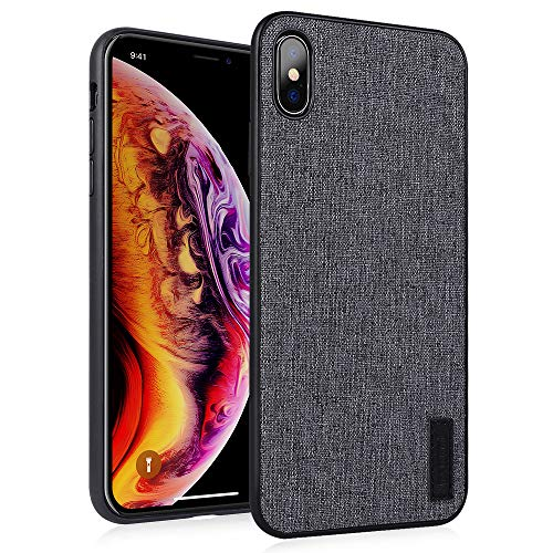 memumi Hülle für iPhone XS Max, Leinen Schutzhülle,Anti-Fingerabdruck, Stößen Schutzhülle kompatibel mit iPhone XS Max Case Cover (Grau-Version intensivieren [ TPU Rahmen ]) - Grau