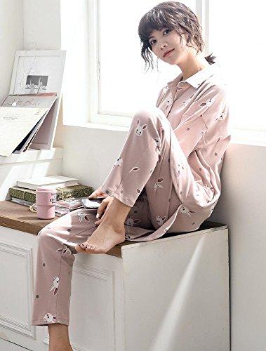 donne cotone set da pigiama le signore 2 pezzi morbido casuale biancheria da notte, M-XL A