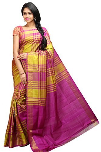 Lakshmi Venkateswara Silks Women's LT Mix Soft Silk Saree with Blouse Piece (Yellow and pink)