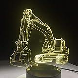 PDDXBB Voiture Excavator 7 Couleur Lampe 3D LED Veilleuses pour Enfants Toucher La Table USB Lampe Bébé Veille Veilleuse Télécommande Sept Couleurs 208 * 160 * 87Mm (À Distance)