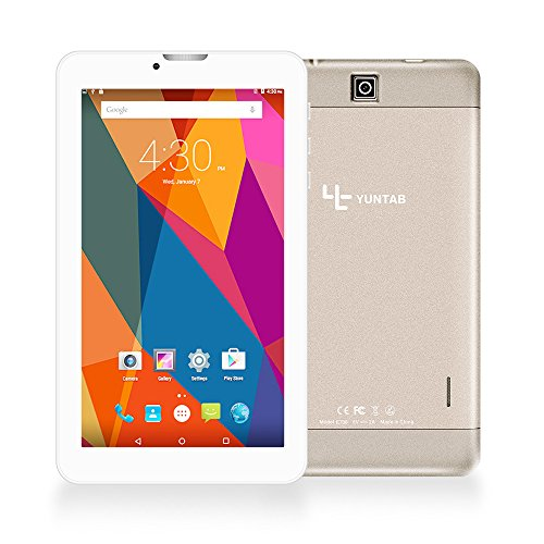 Yuntab E706 Tablette 3g matériau en Alliage HD IPS écran Tactile 7 Pouces Android 6.0(1,3 GHz) Quad Core MT8321 Cortex-A7 8Go Support WiFi Jeux, Google Play Store, Youtube, Jeux-doré