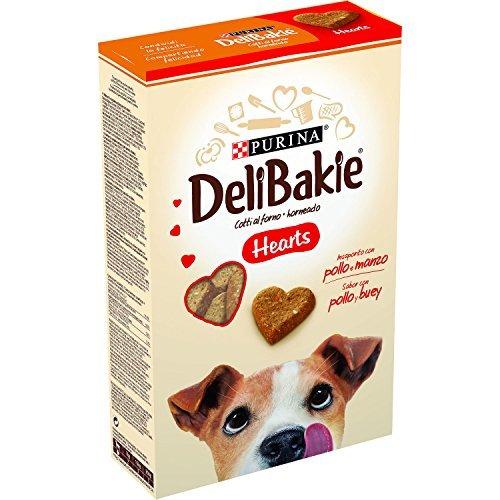 Delibakie cane snack hearts biscotto per cani insaporito con pollo e manzo, 350 g - confezione da 6 pezzi