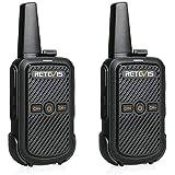 Retevis RT15 Mini Walkie Talkie Portatile Ricetrasmettitore VOX 16CH 50 CTCSS 208 DCS Anti-interferenza Ricetrasmittenti(Nero, 1 Coppia)