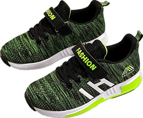 Atmungsaktiv Turnschuhe Jungen Hallenschuhe Kinder Sneaker Mädchen Bequeme Schuhe Outdoor Laufschuhe für Unisex-Kinder 28-37 (30 EU-schwarz Grün)