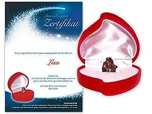 Echte große Sternschnuppe in roter Herzbox ✪ inkl. persönlichem Widmungszertifikat mit Deinem Wunschtext   als romantisches Valentinstagsgeschenk, Geburtstagsgeschenk oder zur Taufe