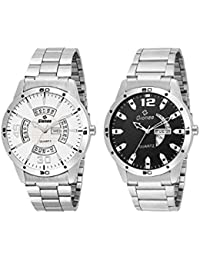 [Sponsored]Gionee Combo Of 2 Analog Day & Date Wrist Watch For Men With White & Black Round Dial And Silver Case & Chain