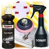 hai-tecs Sonax Profiline Glaspolitur Set +Polierteller + Dorn +Sprühboy + 3M Polierfilz