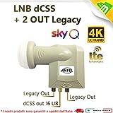 LNB dCSS SCR illuminatore convertitore 16UB CON 2 LEGACY univerasale, per SKyQ con possibilità di collegamento di altri due decoder universali