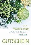 Karte Weihnachten Motiv Gutschein Glitzersterne auf Tannenzweig - Liefermenge 5 Stück
