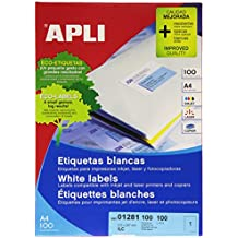 Apli 002698 - Pack de 100 etiquetas para impresora (210 x 297 mm, A4), color blanco